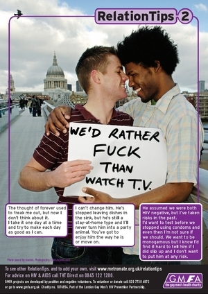 Gay/Lesbian health awareness - We'd Rather Fuck Than Watch TV