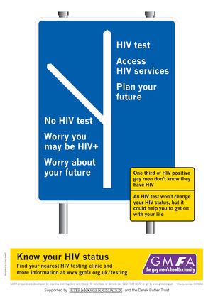 Gay/Lesbian health awareness - Know Your HIV Status street sign